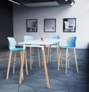 Table haute plateau mélaminé blanc - Hauteur de table : 104 cm