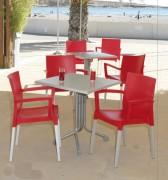 Table métal café bar 80 x 80 cm - Dimensions (cm) : de 70 x 60 à 80 x 80