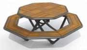 Table octogonale de pique nique en stratifié compact - Livré en Kit à monter