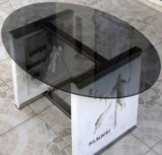 Table personnalisable lumineuse à Led - 2 dalles en pierres reconstituées