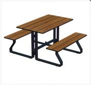 Table pique nique 4 places à sceller - Piétement acier 80 x 12.