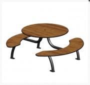Table pique nique 6 places - Piétement acier / Ø60 cintré sur platine.