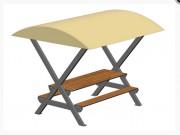 Table pique nique 8 places avec toit - Longueur (mm): 2500
