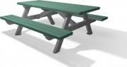 Table pique nique à lames en plastique recyclé 2m - L x l x H : 200 x 77 x 76 cm - 6 lames