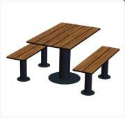 Table pique nique à pied acier - Piétement en tube droit en acier.