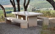 Table pique nique béton 2 bancs - Entièrement en béton blanc - Dimension du plateau : 1.10m x 2m