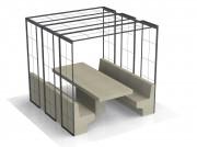 Table pique-nique béton 6 places - Dimensions (L x l x h) : 240 x 236 x 230 cm