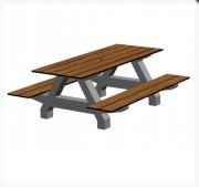 Table pique nique béton 8 places - Structure béton architectonique .