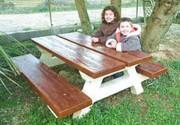 Table pique nique béton enfant - Hauteur assise 33 cm - Hauteur dessus de table 54 cm.