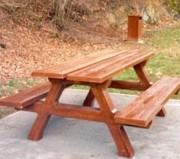 Table pique nique béton imitation bois - Dimensions du dessus de table : 0.75 x 2.00 m