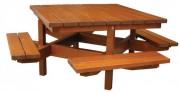 Table pique-nique bois 8 personnes - Tout bois auto-stable.