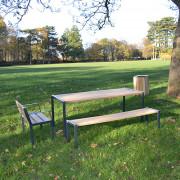 Table pique nique bois acier - Plateau composés de 6 lattes 1800 x 110 x 35 mm