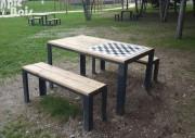 Table pique-nique bois avec jeu d'échec - Longueur : 1m50 - Bancs 1m30 de long
