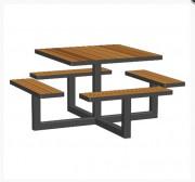 Table pique nique en acier design - Piétement 70 x 70 en acier peint.