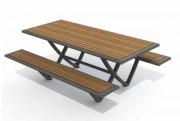 Table pique nique en acier et compact - Plan de table : 1930 x 830 mm