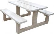 Table pique nique en béton blanc perle - Longueur 2 mètres