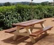 Table pique nique en béton imitation bois - Longueur : 1.50 ou 2 m - Poids : 475 kg