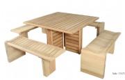 Table pique-nique en bois - Dimensions (L x l x H) : 126 x 126 x 75 cm