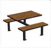 Table pique nique en compact - Plateau et assise compact effet lame