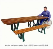 Table pique nique pied acier - Dossier en bois