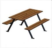 Table pique nique piétement acier - Table 4/6 places avec bancs attachés.