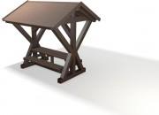 Table pique nique plastique recyclé avec abri 2m30 - Abri : L x l x H : 230 x 210 x 280 cm