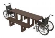 Table pique-nique pour handicapés 180 x 175 cm - Dimensions au sol (cm) : 180 x 175