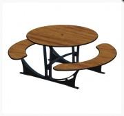 Table pique nique ronde - 6 places avec bancs séparés.