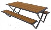 Table pique nique stratifié panneaux ajourés - Dimensions (H x L en cm) : 193 x 146 - 6/8 places