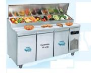 Table pizza salade bar réfrigérée - Froid positif : -2° +8°C - Dim. L x P x H mm 1550 x 800 x 850/1280 ou 2100 x 800 x 850/1280