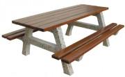 Table plein air béton et bois - Pieds béton armé