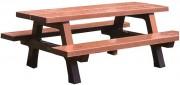 Table plein air en béton - Pieds, assise et plateau en béton