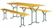 Table pliante avec bancs en bois - Bois -