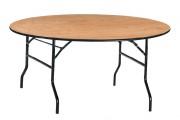 Table pliante en bois - Diamètre (cm) : 152 - 170 - 182