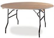 Table pliante ronde en bois - Dimensions (Ø) : 152 ou 183 cm