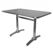 Table rectangulaire terrasse alu inox - Plateau rectangulaire en inox