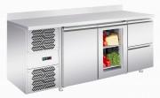 Table réfrigérée - Capacité: 280 à 600 litres - en inox avec dosseret 100 mm