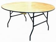Table ronde bois 6 places - Dimensions : Ø 183cm