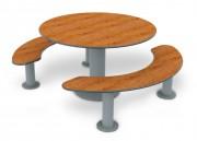 Table ronde stratifiée pour 8 personnes - Encombrement (mm) : 1765 x 1560