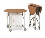 Table room service pliante - Plateau fixe - Ouverte : Ø 90cm, h: 78cm