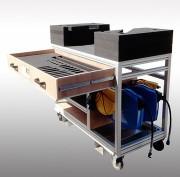 Table roulante avec étagéres - En profilé aluminium - Mécano soudée