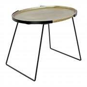 Table style mid century - Table auxiliaire de style Mid Century fabriqué en acier. Plateau ovale avec finition en laiton effet vieilli.