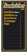 Tableau d'affichage prix sandwiches - Dimensions (cm) : 30 x 60