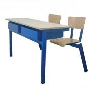 Tables avec sièges attenants - 2 Dimensions(L x l) cm : 70 x 50 - 120 x 50
