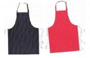 Tablier à bavette 100% coton - Rayures marine/ blanc - rouge/blanc