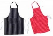 Tablier à bavette avec poche - Rayures marine/ blanc - rouge/blanc - 100% coton