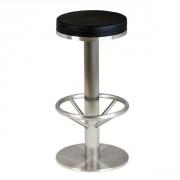 Tabouret bar acier avec repose pied - Dimensions hors tout : H 75 x L 38 x P 37 cm