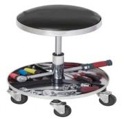 Tabouret d'atelier réglable en hauteur - Tabouret roulant avec plateau à outils