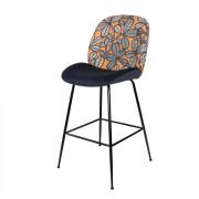 Tabouret de bar avec dossier à motifs - Tabouret de style contemporain en acier avec dossier en tissu à motifs géométriques