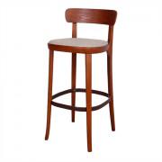 Tabouret de style Contemporain - Tabouret haut de style Contemporain en bois avec assise en tissu